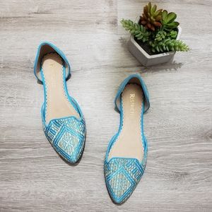 RESTRICTED geometric woven raffia d'orsay flats